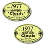 PAIR Distressed Aged Established 1977 Aged To Perfection Oval Design Vinyl Car Sticker 70x45mm Each